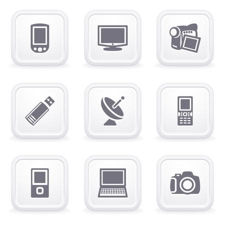 灰色ボタン 16 インターネット アイコン  イラスト・ベクター素材