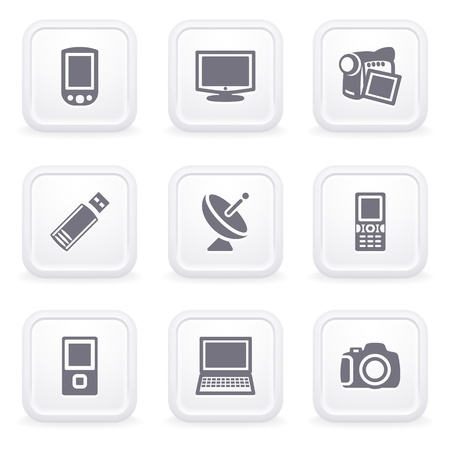 Internet icons on gray buttons 16 Stock Vector - 12066057
