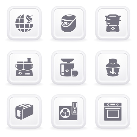 Internet icons on gray buttons 17 Vector