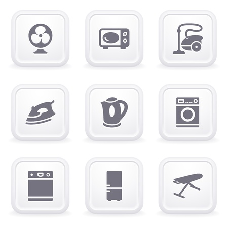 Internet icons on gray buttons 18 Vector