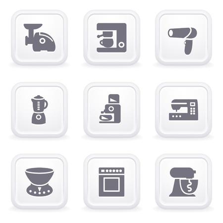 Internet icons on gray buttons 19 Vector