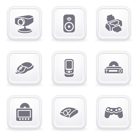 Internet icons on gray buttons 21 Vector