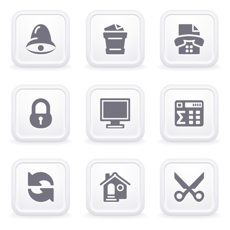 Internet icons on gray buttons 7 Stock Vector - 12066055
