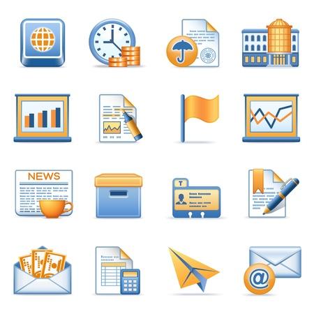 cuenta bancaria: Los iconos de las series de red azul naranja 5 Vectores