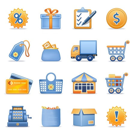 cart icon: Icons for web blue orange series 6