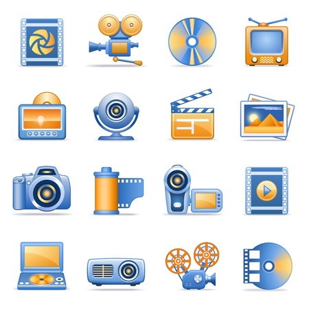 movie projector: Icons for web blue orange series 8 Illustration