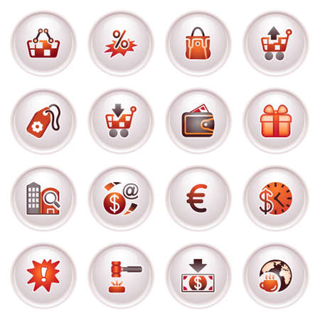 Commerce icons  Black red series Stock Vector - 12497977