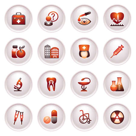 Medicine  icons set 2  Black red series  Vector