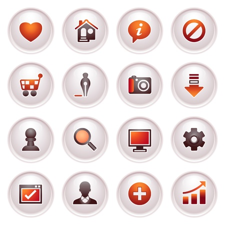 Basic web icons  Black red series  Vector