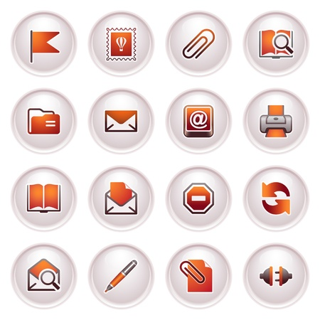 E-mail web icons  Black red series Stock Vector - 12497947