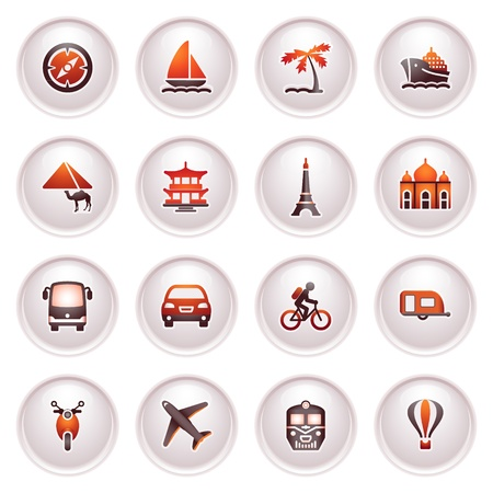 air liner: Travel icons for web   Black red series  Illustration