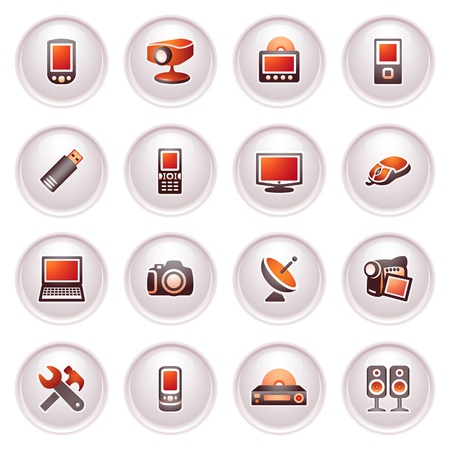 Electronics icons for web   Black red series  Vector