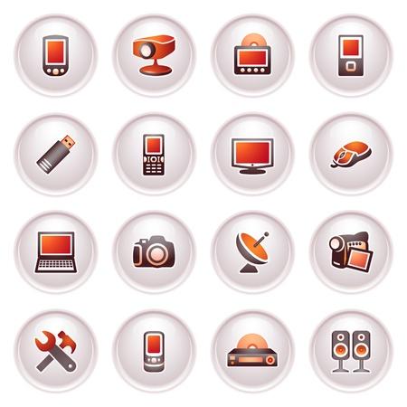 Electronique icônes pour le web Noire série rouge