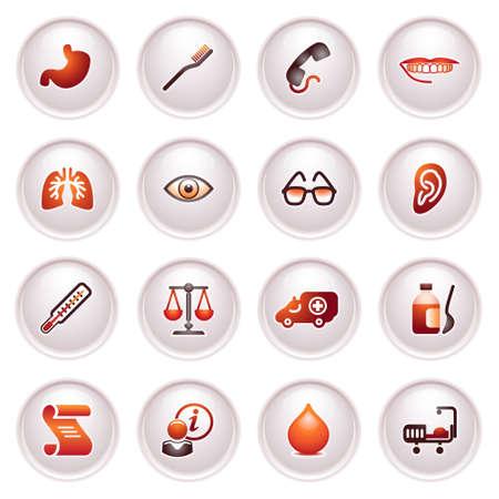 Medicine web icons  Black red series  Vector