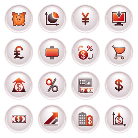 sales chart: Finance web icons  Black and red series  Illustration