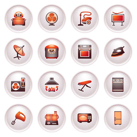 Home appliances, set   Black red series  Vector