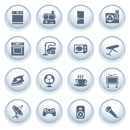 microwave antenna: Electrodom�sticos iconos de botones, el grupo 2 Vectores