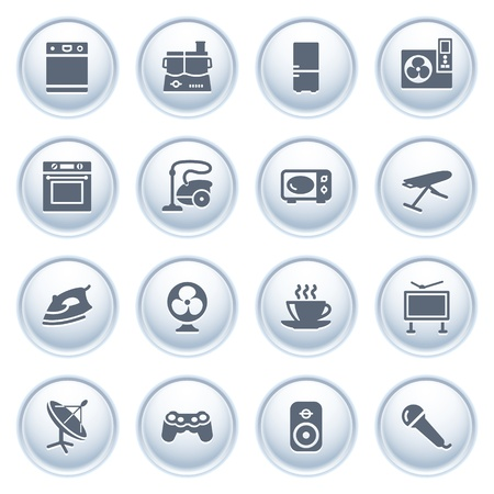 Home appliances icons on buttons, set 2 Vector