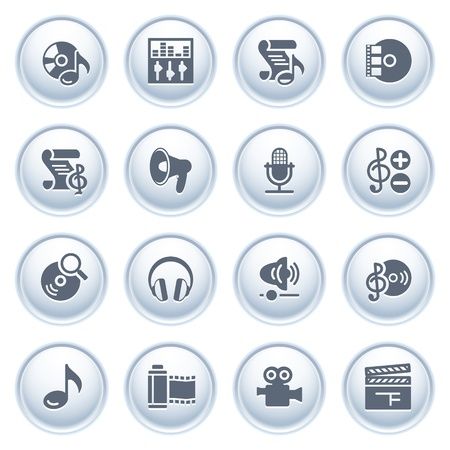 Audio video web icons on buttons Stock Vector - 12771802