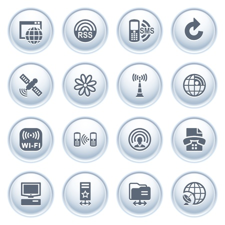 Communication icons on buttons, set 2 Stock Vector - 12771805