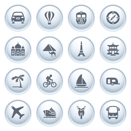 Travel icons on buttons Stock Vector - 12771803