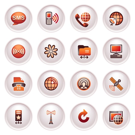 Communication icons set 2  Black red series  Vector