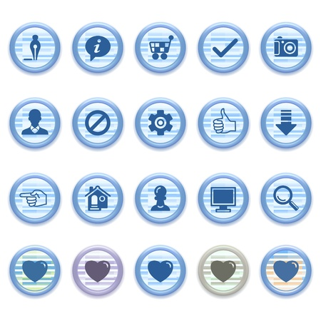Blue web icons set 12 Stock Vector - 13459430