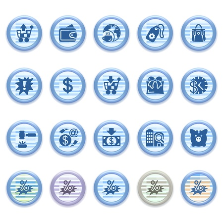 Blue web icons set 16 Stock Vector - 13459457