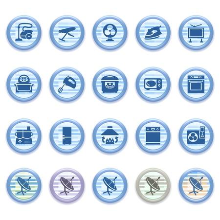 Blue web icons set 25 Vector