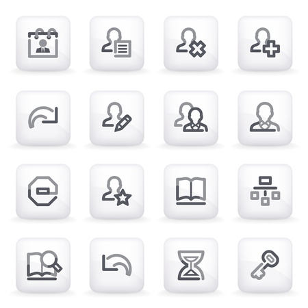 Users contour icons on gray buttons Stock Vector - 13750024