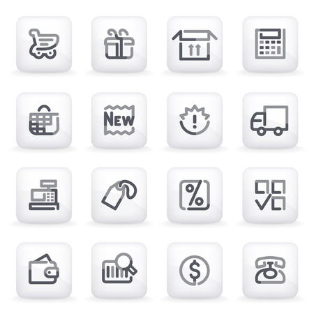 Shopping icons on gray buttons  Vector