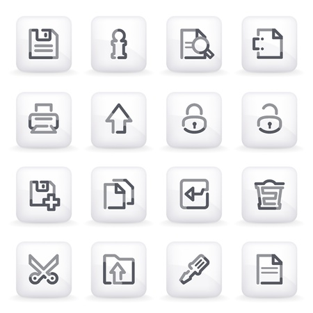 save button: Document icons  on gray buttons