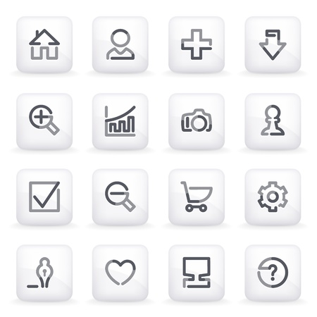 Basic contour icons on gray buttons  Vector