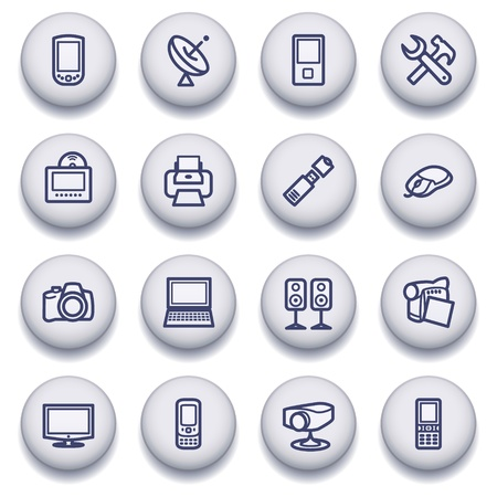 portable player: icons set for websites, guides, booklets.