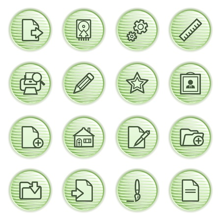 Document web icons, set 2  Green series  Stock Vector - 13858950