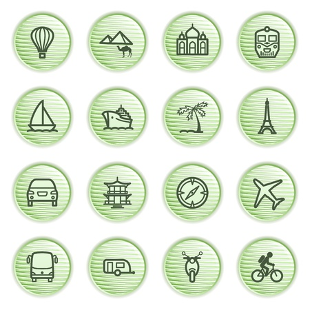 Travel icons  Green series  Vector