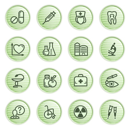 Medicine icons set 2  Green series  Vector