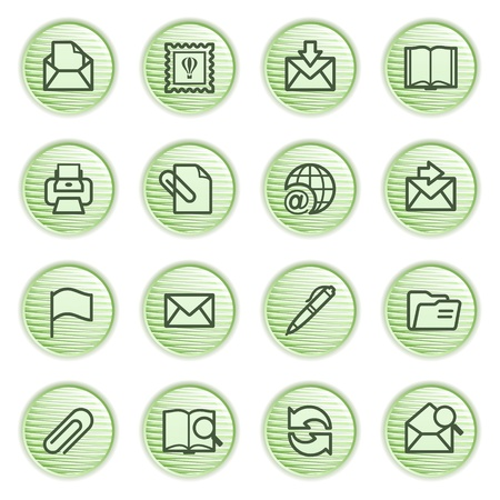 web mail: E-mail icons  Green series  Illustration