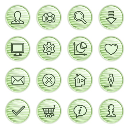 Basic contour icons   Green series  Vector
