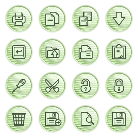 save as: Document web icons, set 1  Green series