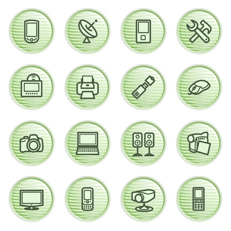 pocket pc: Electronics icons for web  Green series