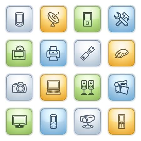 pocket pc: icons set for websites, guides, booklets.