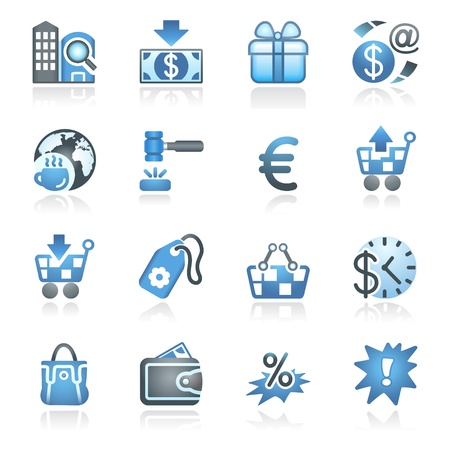 Commerce icons  Gray and blue series  Stock Vector - 14031440