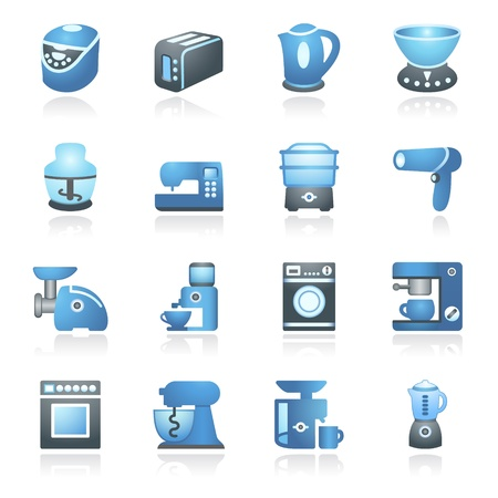 Home appliances  Gray and blue series  Stock Vector - 14031408