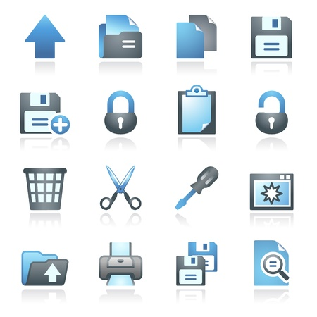 Document web icons, set 1  Gray and blue series Stock Vector - 14031400