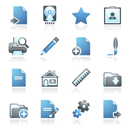Document web icons, set 2  Gray and blue series  Stock Vector - 14031422