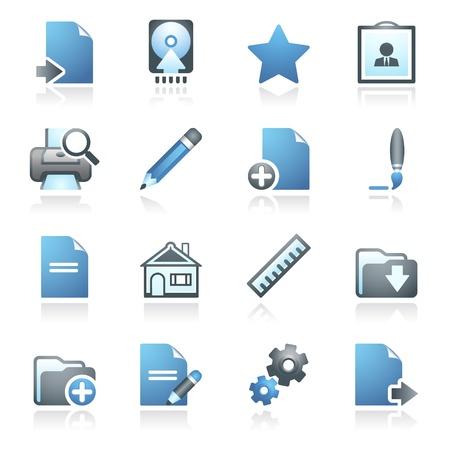 export and import: Iconos de documentos web, configure dos series gris y azul