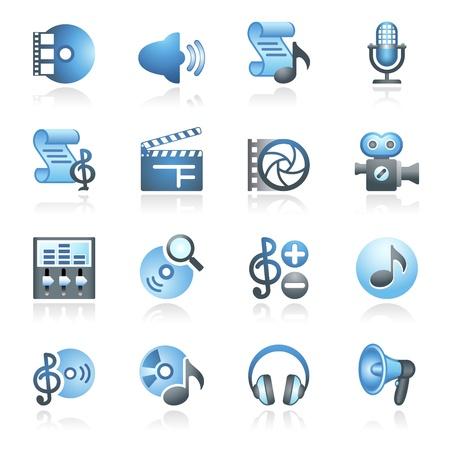 オーディオ ビデオの web アイコン灰色と青のシリーズ  イラスト・ベクター素材