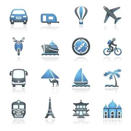 Web グレーのアイコンを旅行と青のシリーズ
