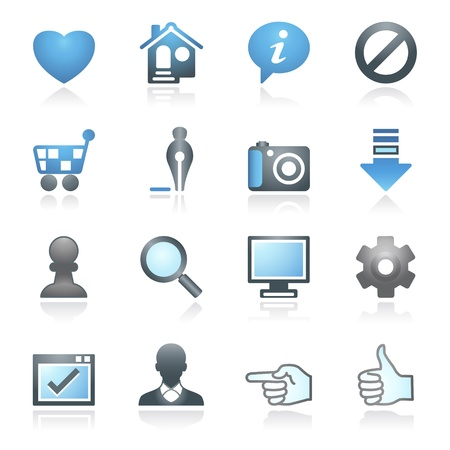 Basic web icons    Gray and blue series  Vector
